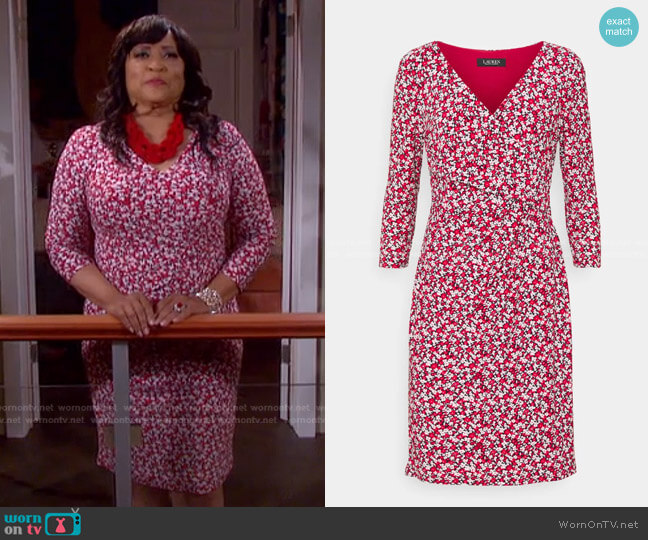 Floral Jersey Surplice Dress by LAUREN Ralph Lauren worn by Paulina Price (Jackée Harry) on Days of our Lives