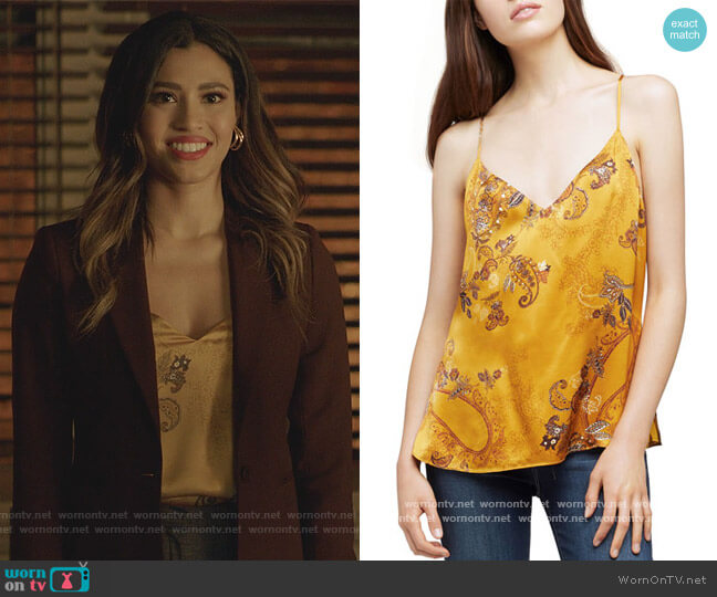 Kylee Racer Silk Tank by L'Agence worn by Kara Royster on Dynasty