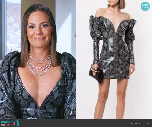 Python-Print Puff-Sleeve Dress by LaQuan Smith worn by Meredith Marks  on The Real Housewives of Salt Lake City