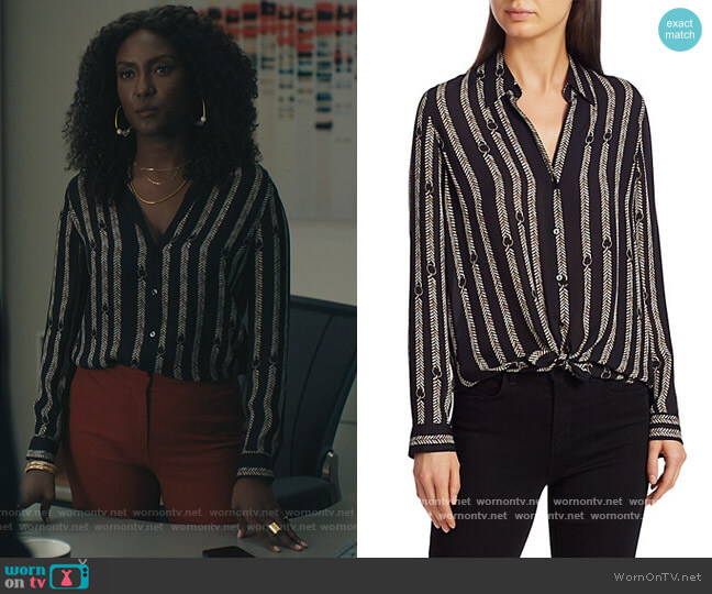 Nina Aguillette Printed Silk Blouse by L'Agence worn by Lauren Turner (Jade Eshete) on Billions