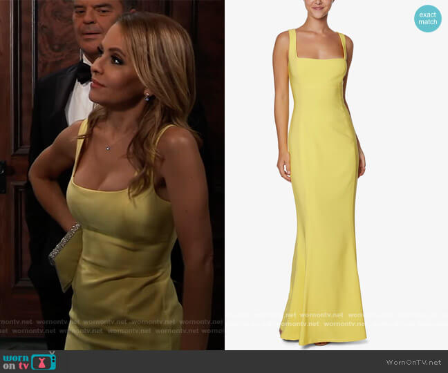 Square-Neck Mermaid Gown by Laundry by Shelli Segal worn by Olivia Falconeri (Lisa Lo Cicero) on General Hospital