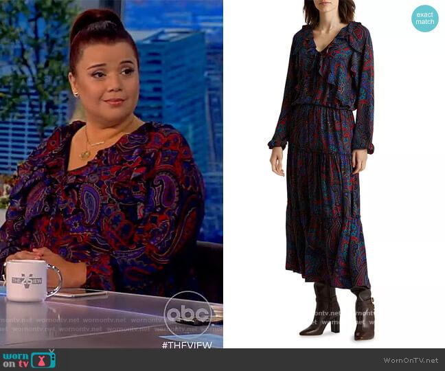 Paisley Georgette Long Sleeve Dress by Lauren Ralph Lauren worn by Ana Navarro  on The View