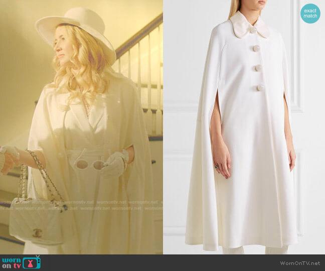 Laurette cape by Roksanda worn by Amanda Carrington (Eliza Bennett) on Dynasty