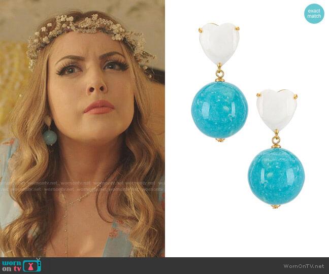 Halfcourt Heart Earrings by Lele Sadoughi worn by Fallon Carrington (Elizabeth Gillies) on Dynasty