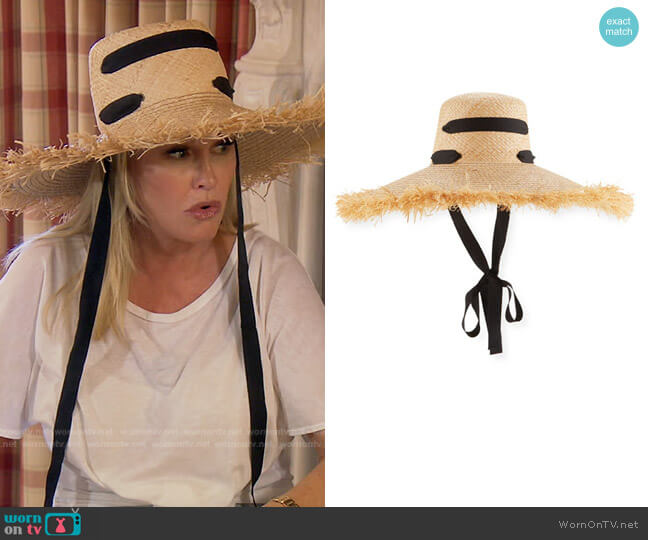 Alpargatas Raffia Straw Hat with Ribbon Band by Lola Hats worn by Kathy Hilton  on The Real Housewives of Beverly Hills