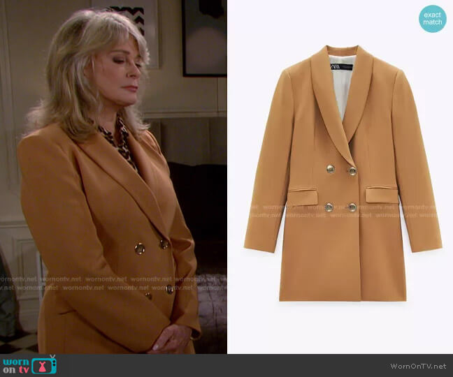 Long Double Breasted Blazer by Zara worn by Marlena Evans (Deidre Hall) on Days of our Lives
