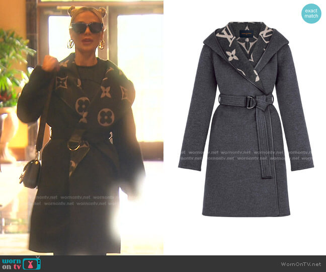 Hooded Wrap Coat with Belt by Louis Vuitton worn by Dorit Kemsley  on The Real Housewives of Beverly Hills