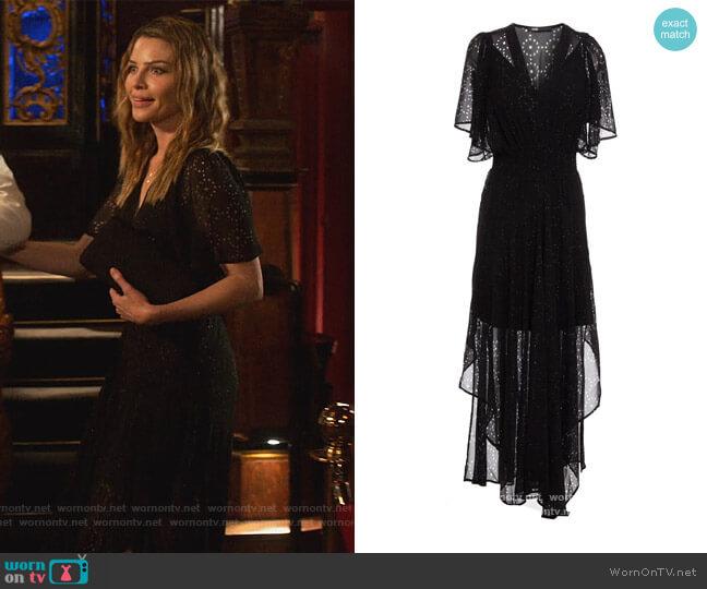 Shirred Laser-cut Silk Blend Midi Dress by Maje worn by Chloe Decker (Lauren German) on Lucifer