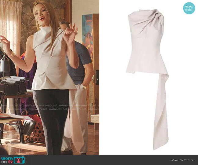 High-Neck Draped Peplum Top by Maticevski worn by Dominique Deveraux (Michael Michele) on Dynasty