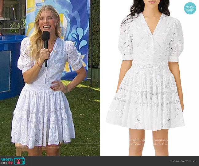 Rayanette A Line Eyelet Dress by Maje worn by Amanda Kloots  on The Talk