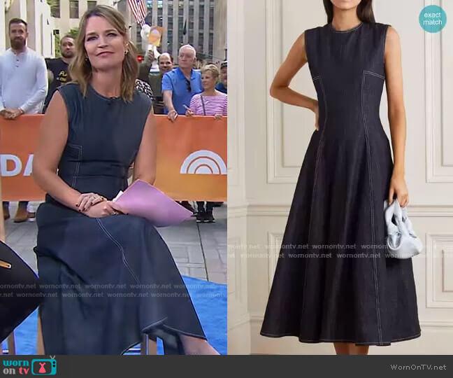 Mara Pleated Denim Midi Dress by Emilia Wickstead worn by Savannah Guthrie  on Today