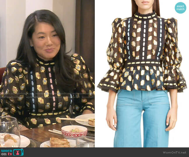 Deco Square Fil Coupé Blouse by Marc Jacobs worn by Crystal Kung Minkoff  on The Real Housewives of Beverly Hills