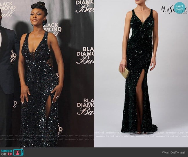 Fully Sequinned Dress by Mascara London worn by Angela Vaughn (Yaya DaCosta) on Our Kind of People