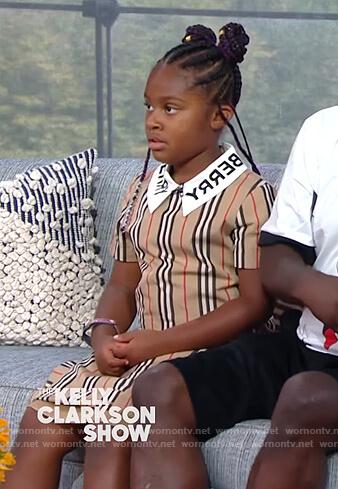 Maven's Burberry logo stripe dress on The Kelly Clarkson Show