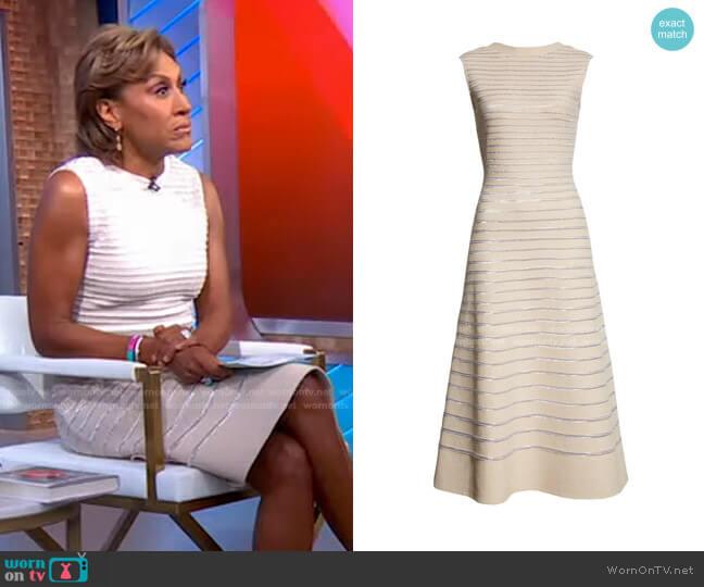 Metallic Float Knit A-Line Dress by St. John worn by Robin Roberts  on Good Morning America