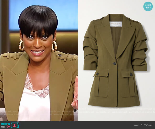 Ruched wool-twill blazer by Michael Kors worn by Tamron Hall  on Tamron Hall Show