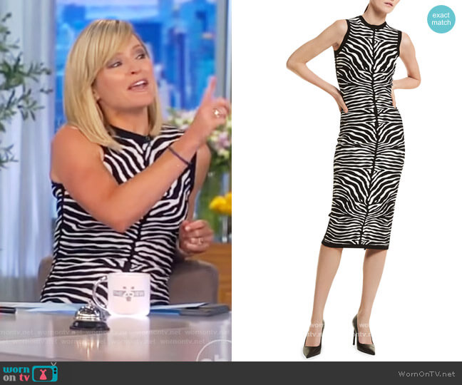 Zebra-Print Knit Midi Dress by Michael Kors worn by Sara Haines  on The View