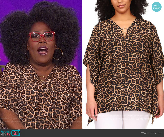 Plus Size Leopard Printed Top by MICHAEL Michael Kors worn by Sheryl Underwood  on The Talk