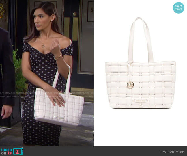Ivy Woven Vegan Leather Tote by Michael Kors worn by Gabi Hernandez (Camila Banus) on Days of our Lives