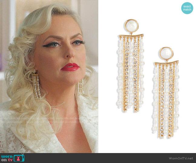 Freshwater Pearl Chandelier Earrings by Mignonne Gavigan worn by Alexis Carrington (Elaine Hendrix) on Dynasty