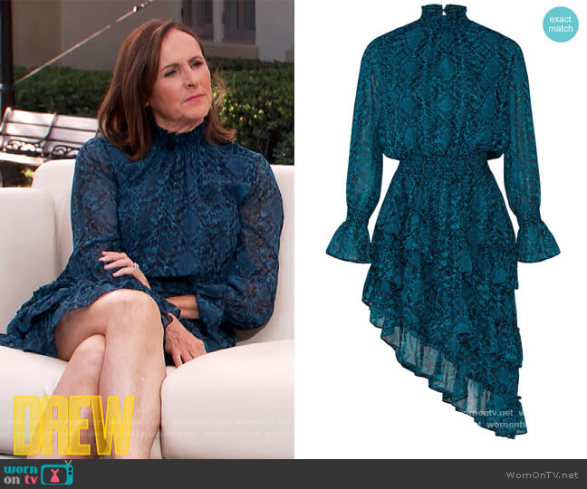 Snake Print Savanna Dress by Misa Los Angeles worn by Molly Shannon on The Drew Barrymore Show