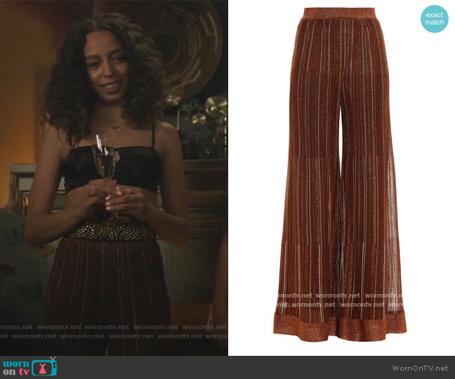 Striped metallic crochet-knit wide-leg pants by Missoni worn by Valerie Brown (Hayley Law) on Riverdale