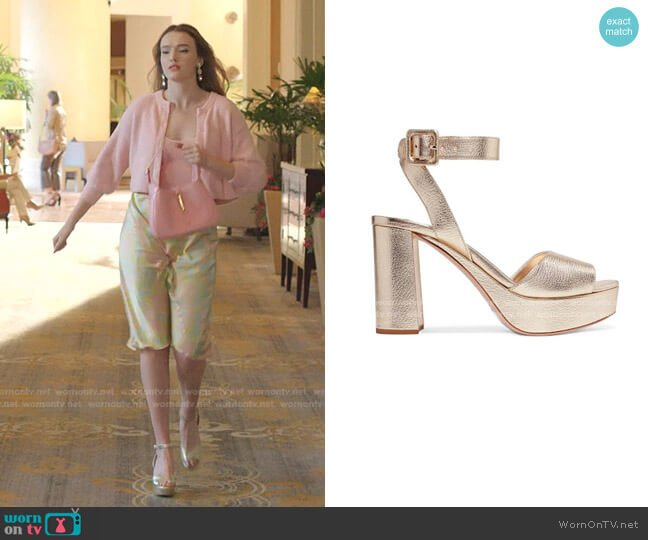 Metallic Leather Platform Sandals by Miu Miu worn by Kirby Anders (Maddison Brown) on Dynasty