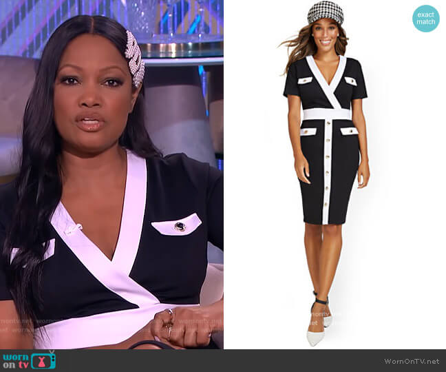 V-neck Colorblock Sheath Dress by New York & Company worn by Garcelle Beauvais  on The Real