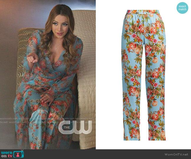 Nima Floral Silk Pants by Adriana Iglesias worn by Fallon Carrington (Elizabeth Gillies) on Dynasty