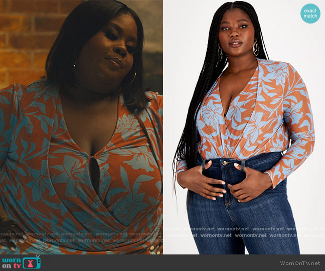 Trendy Plus Size Printed Mesh Bodysuit by Nina Parker worn by Raven Goodwin on Our Kind of People
