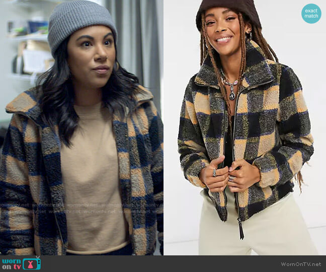 Noisy May Teddy Jacket in Mustard and Black Check worn by Melanie (Chrissie Fit) on Awkwafina is Nora from Queens