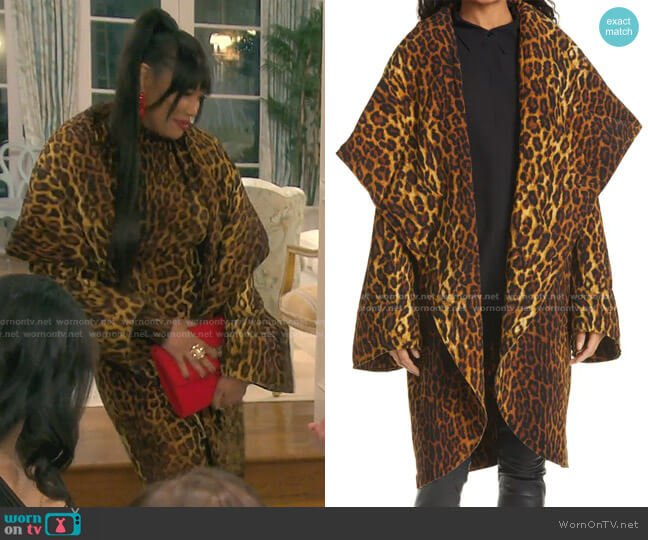 Leopard Print Coat by Norma Kamali worn by Garcelle Beauvais  on The Real Housewives of Beverly Hills