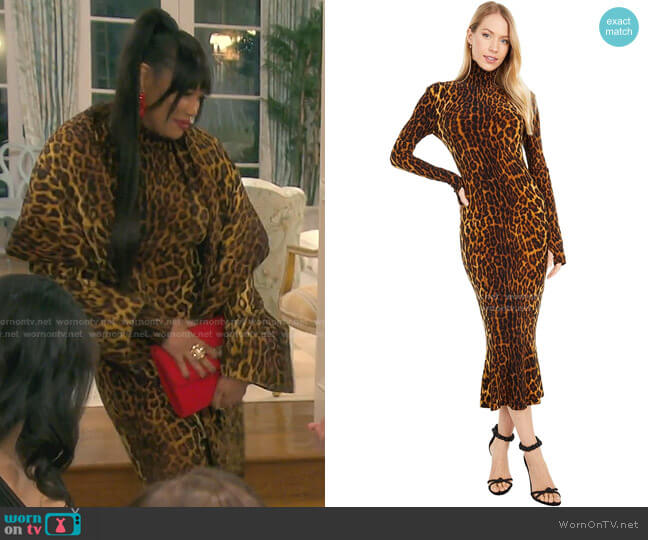 Turtle Fishtail Dress by Norma Kamali worn by Garcelle Beauvais  on The Real Housewives of Beverly Hills