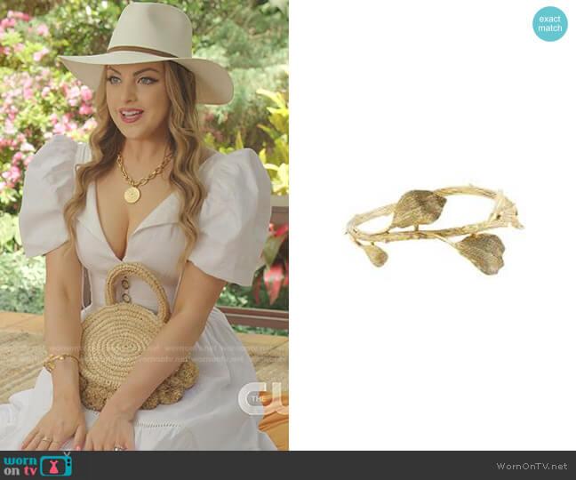 Embossed Leaf Cuff Bracelet by Oscar de la Renta worn by Fallon Carrington (Elizabeth Gillies) on Dynasty