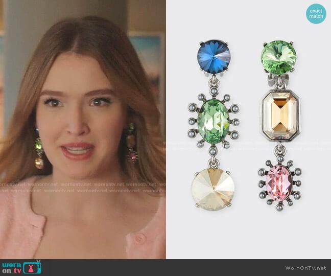 Mix Jewel Drop Earrings by Oscar de la Renta worn by Kirby Anders (Maddison Brown) on Dynasty