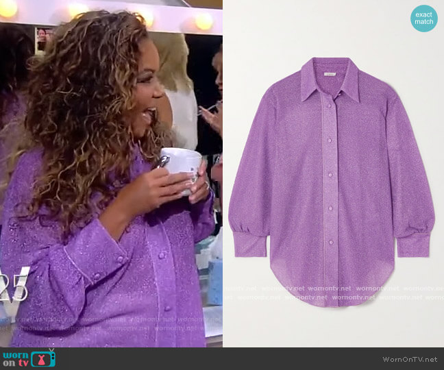 Lumiere stretch-Lurex shirt by Oseree worn by Sunny Hostin  on The View