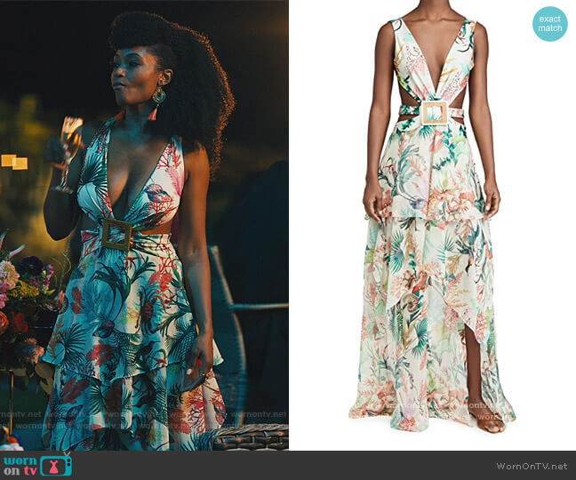Oasis Cutout Dress by PatBO worn by Angela Vaughn (Yaya DaCosta) on Our Kind of People