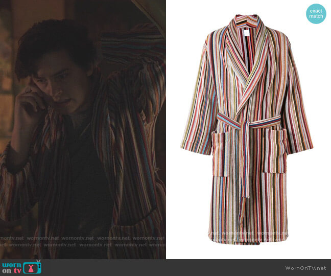 Multi-Stripe Robe by Paul Smith worn by Jughead Jones (Cole Sprouse) on Riverdale