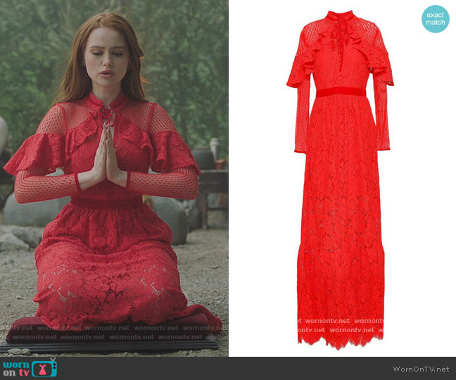 Point D'Esprit Paneled Lace Gown by Perseverance worn by Cheryl Blossom (Madelaine Petsch) on Riverdale