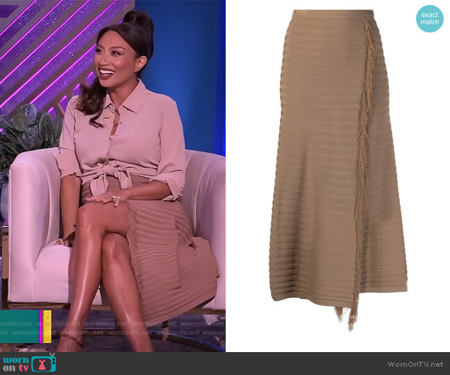 Fringed knit skirt by Pinko worn by Jeannie Mai  on The Real