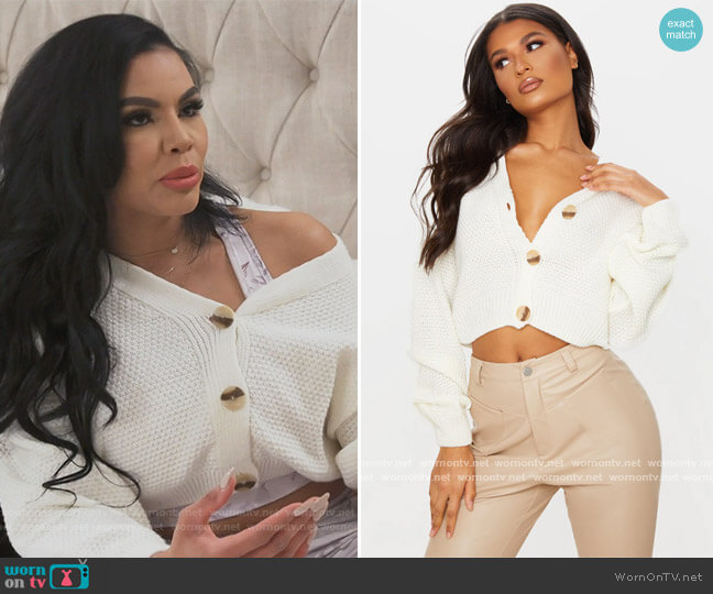 Cream Chunky Knit Button Down Cropped Cardigan by Pretty Little Thing worn by Mia Thornton  on The Real Housewives of Potomac