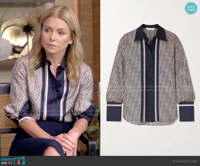 Printed Silk-Twill Shirt by Chloe worn by Kelly Ripa  on Live with Kelly & Ryan