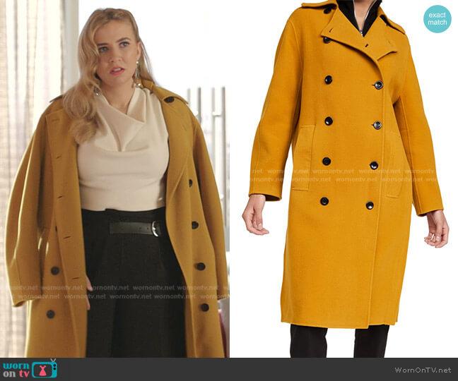 Double Face Double Breasted Coat by Proenza Schouler worn by Amanda Carrington (Eliza Bennett) on Dynasty
