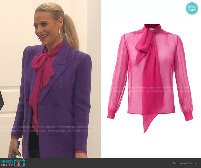Pussy-Bow Silk-Chiffon Blouse by Saint Laurent worn by Dorit Kemsley  on The Real Housewives of Beverly Hills