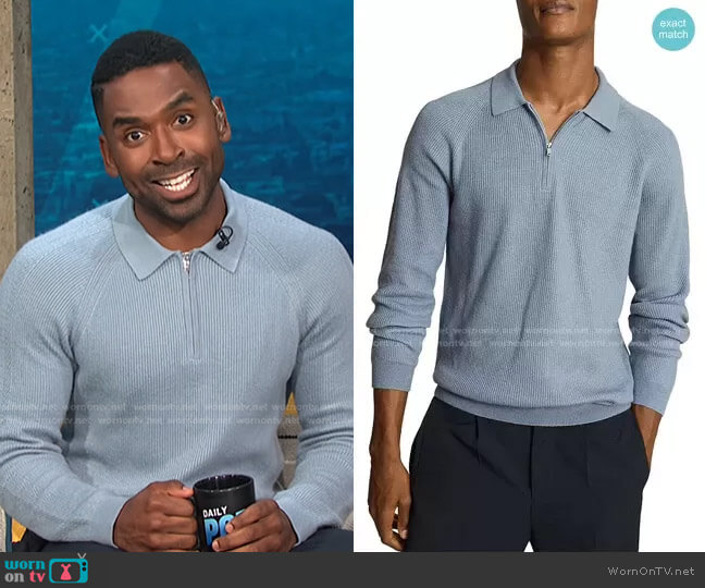 Quarter Zip Sweater by Reiss worn by Justin Sylvester  on E! News