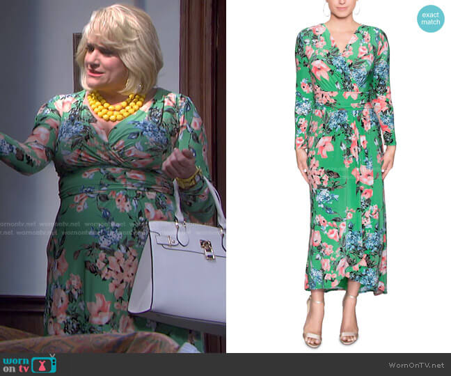 Ruched-Waist Floral-Print Maxi Dress by RACHEL Rachel Roy worn by Cady Huffman on Days of our Lives