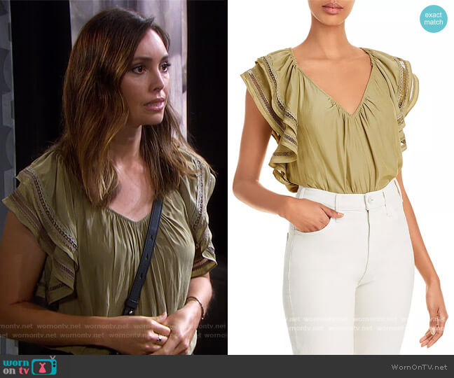 Merrit Flutter Sleeve Top by Ramy Brook worn by Gwen Rizczech (Emily O'Brien) on Days of our Lives