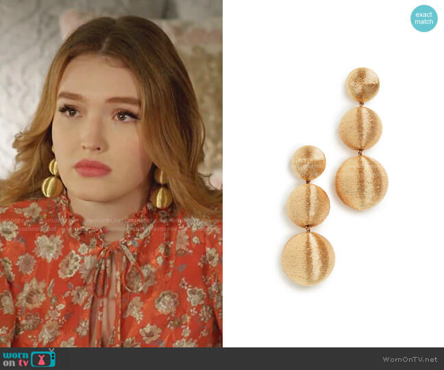 Classic 3 Drop Earrings in Gold by Rebecca De Ravenel worn by Kirby Anders (Maddison Brown) on Dynasty