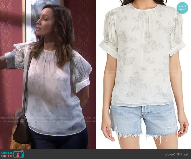 Short Sleeve Toile Blouse by Rebecca Taylor worn by Gwen Rizczech (Emily O'Brien) on Days of our Lives