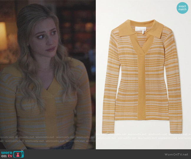 Joy striped ribbed-knit polo shirt by Remain Birger Christensen worn by Betty Cooper (Lili Reinhart) on Riverdale